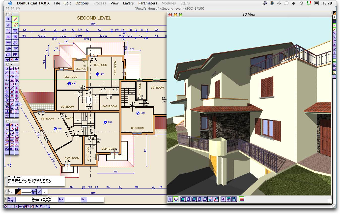 Architectural 3D CAD program. Design and modeling, interior, landscape.