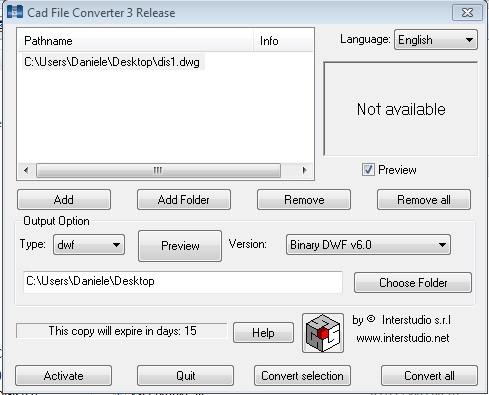 Click to view CAD File Converter W 3.0.1 screenshot