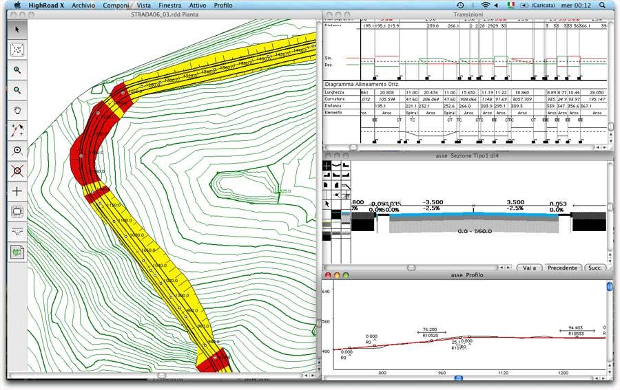 Lo schermo di HighRoad con pianta, sezione tipo, profilo e transizioni